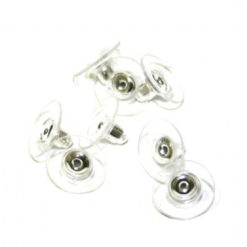 100pcs x silver plated earring back plastic/metal - S.F09 - WC038 - 2502029